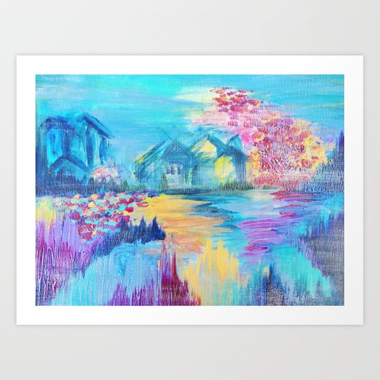 SOMEWHERE IN DREAMLAND - Simply Lovely Dream Village Blue Relax Christmas Abstract Serene Painting Art Print
