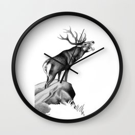 Stag Roaring in the Rut Wall Clock