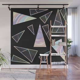 Abstract Artwork Pattern of Color Triangles on a Black Background Style #04 Wall Mural