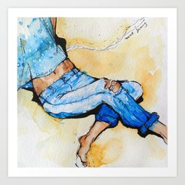 Jeans Beach Bum Art Print