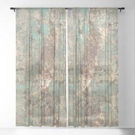 Turquoise and Fawn Brown Marble Sheer Curtain