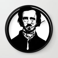 poe Wall Clocks featuring Poe by Zombie Rust
