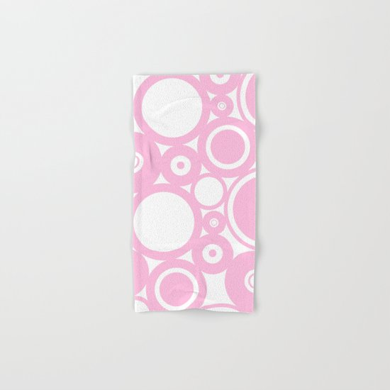 Abstract dots and circles - abstract patterns - pink Hand & Bath Towel