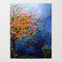 Fall Trees with Leaves Blowing in the Wind by annmariescreations Poster