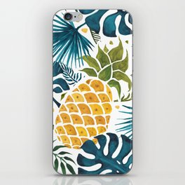 Golden pineapple on palm leaves foliage iPhone Skin