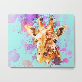 Watercolor Giraffe, Giraffe Animal, Giraffe Painting, Giraffe Art, Giraffe Print, Nursery Giraffe Metal Print