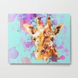Giraffe Paintng, Nursery Wall Art, Watercolor, Zoo Animal, Love Giraffes, Gift Idea, Splatter Paint Metal Print