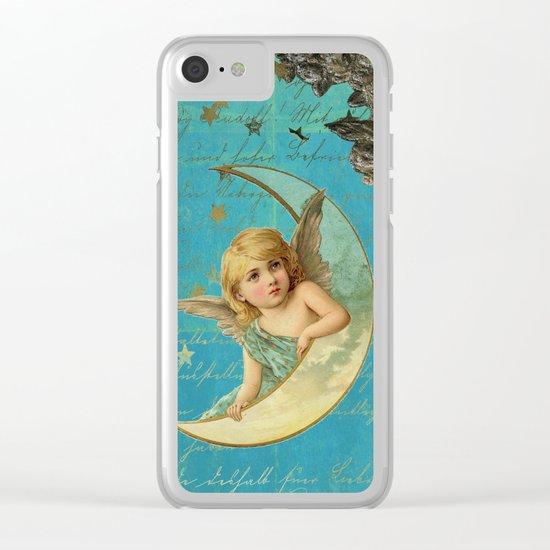 Vintage-Shabby-chic- Beautiful Christmas angel on aqua backround Clear iPhone Case