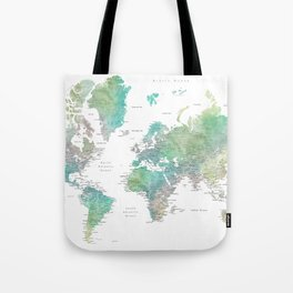 Watercolor world map in muted green and brown Tote Bag