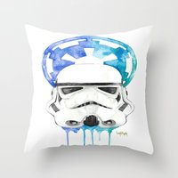 storm trooper Throw Pillows featuring Storm Trooper by Leigh Roundy