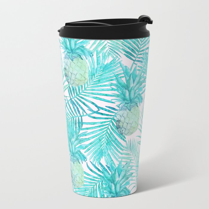 Turquoise Palm Leaves and Pineapples on Pink Metal Travel Mug