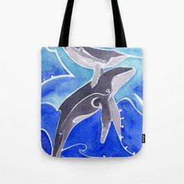 Polynesian humpback whale and calf Tote Bag