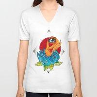 hamsa V-neck T-shirts featuring Hamsa by missfortunetattoo