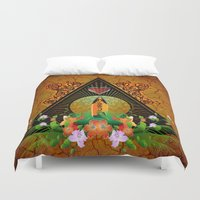 surfboard Duvet Covers featuring Surfboard with flowers  by nicky2342