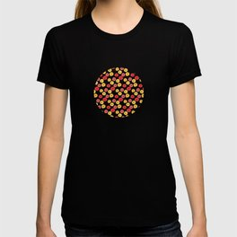 Bright Sunny Mod Poppy Flower Pattern T-shirt