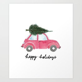 Happy Holidays Red Beetle Card Art Print