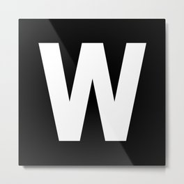 Letter W (White & Black) Metal Print