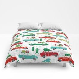 Christmas holiday vintage cars classic festive christmas tree snowflakes winter season Comforters