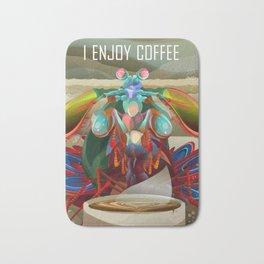 Rainbow Mantis Shrimp Enjoys Coffee Bath Mat