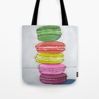 macaron Tote Bags featuring macaron stack. by nicole newsted