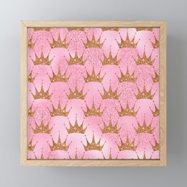 Princess Glitter Gold Crowns on Lollipop Pink Framed Mini Art Print