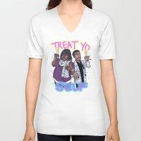 treat yo self V-neck T-shirts featuring Treat Yo Self by enerjax