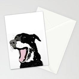 Labrador Dog Yawning (black) Stationery Cards