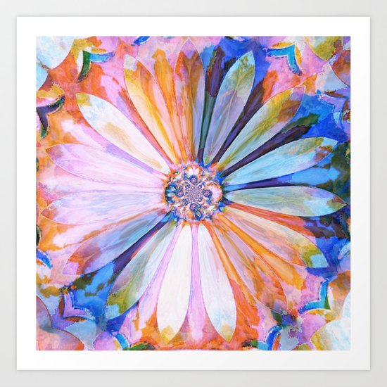 Abstract Colorful Daisy Twilight Art Print