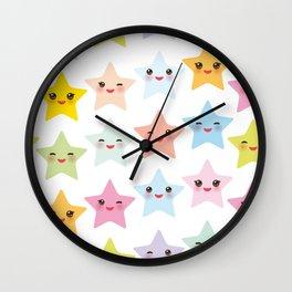 Kawaii stars pattern, face with eyes, pink green blue purple yellow Wall Clock