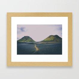 hiking trail through black volcanic sand Framed Art Print