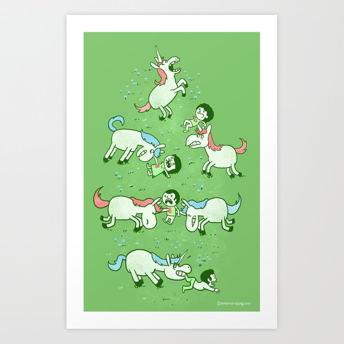 Angry Unicorns Art Print