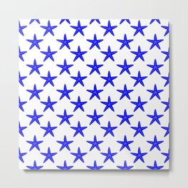 Starfishes (Blue & White Pattern) Metal Print