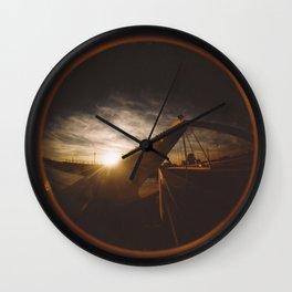 Golden sunset, bridge and birds Wall Clock