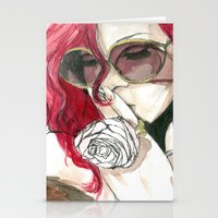 rihanna Stationery Cards featuring Rihanna by Dee Andrews