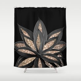 Gray Black Agave with Gold Glitter #1 #shiny #tropical #decor #art #society6 Shower Curtain