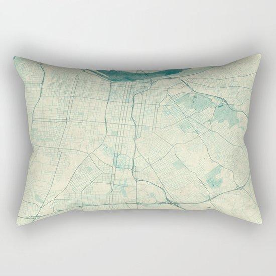 Louisville Map Blue Vintage Rectangular Pillow