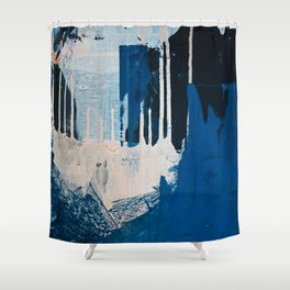 Solstice: a minimal abstract piece in blues and cream by Alyssa Hamilton Art Shower Curtain