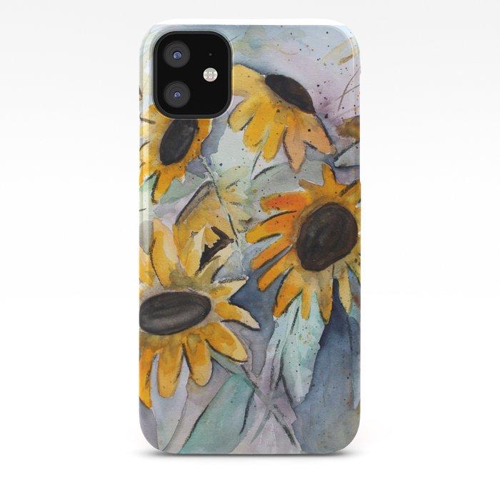 Loose Sunflower Watercolor Painting Iphone Case By Landandseaartstudio