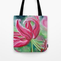 lily Tote Bags featuring lily by Beth Jorgensen