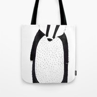 badger Tote Bags featuring Badger  by Jilly Bird