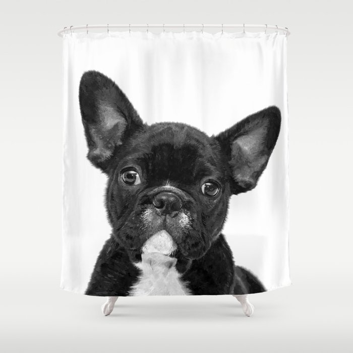 Black And White French Bulldog Shower Curtain By Alemi