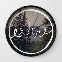 oregon Wall Clocks featuring Explore Oregon by Leah Flores