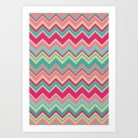 Aztec chevron pattern- pink & cream Art Print