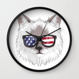 Patriotic Birman Cat Kitty Merica American Flag Wall Clock