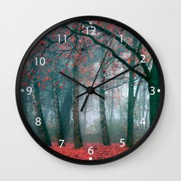 Autumn Forest with Red Leaves.beautiful landscape Wall Clock