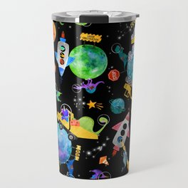 Watercolor Dinosaur Space Construction Travel Mug