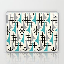 Mid Century Modern Atomic Wing Composition Blue & Grey Laptop & iPad Skin