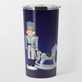 Toy Soldier with Rocking Horse on Christmas Eve Travel Mug