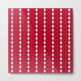 Geometric Droplets Pattern Linked - White on Red Metal Print