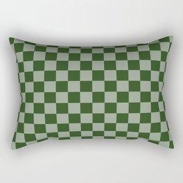Large Dark Forest Green Checkerboard Pattern Rectangular Pillow